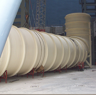 Fiberglass storage tank used by ANDRITZ for